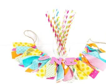 Candy Shoppe - My Little Pony Birthday Party Paper Straws - Set of 25 Straws - Pink, Orange, Aqua, Lime - First Birthday