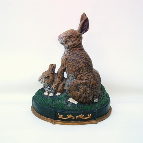 Vintage Rabbit Doorstop Cast Iron Door Stop Easter Bunnies