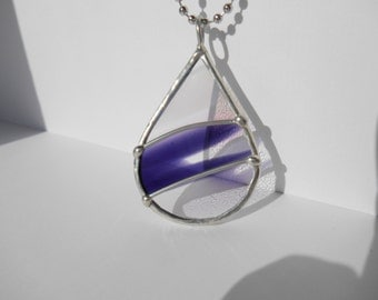 Teardrop stained glass pendant purple and clear wispy silver wire