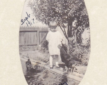 Mary and Her Chickens- 1910s Antique Photograph- Little Girl with Pet Rooster- Backyard Birds- Old Photo- Snapshot- Paper Ephemera