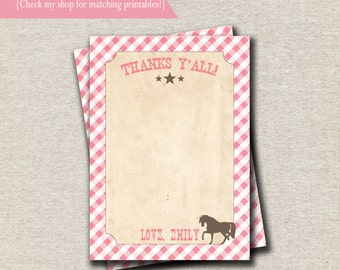 Pony Party Thank You Card - pink and brown   Vintage Cowgirl Thank You Card   Vintage Cowgirl Birthday Party and Baby Shower Printables