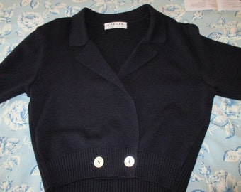 Jaeger Wool Sweater Cardigan Vintage Clothing Women's Wear YourFineHouse Navy Blue Made in Britain Vintage Sweaters