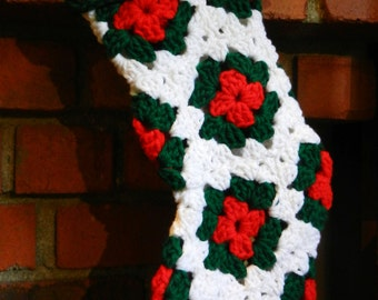 Christmas Stocking ONE Crochet White, Red, & Green Classic Granny Square Stockings