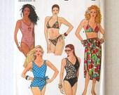 1980s Swim Suit and Pareo Pattern Simplicity 9750 Womens Bikini Maillot Pattern One & Two-Piece Swimwear Beachwear Size 4-12 Bust 29-34