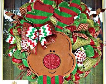 Burlap Reindeer Christmas Wreath