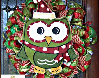 Burlap Owl Christmas Wreath, Whimsical Christmas Wreath, Christmas wreath, deco mesh wreath, wreath, Christmas decorations, holiday wreaths