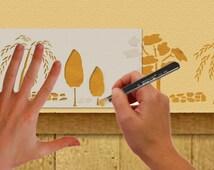 Einzigartige artikel zum thema schablone baum etsy - Schablone wandmalerei ...