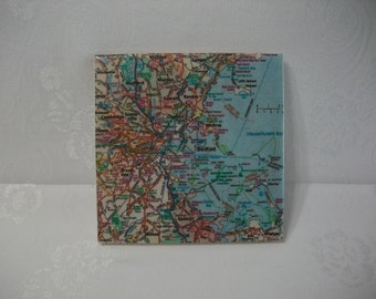 Boston Coaster Trivet / Boston MA Area Map 6 Inch Wine Coaster Trivet / Large Size Coaster or Trivet
