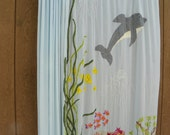 Hand Painted Curtain rod curtains fish theme curtains blue curtains underwater theme curtains childs room curtains handcrafted curtains