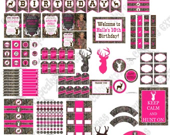 Camo Girl Hunting Party  DIY PRINTABLE Deluxe Package  Pink  camo deer realtree hunting