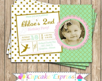 Peter Pan Inspired  Dressy  Birthday Party DIY  PRINTABLE  Invitation 5x7 4x6  green gold pink neverland tinkerbell  photo invitation