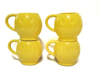 Vintage McCoy Yellow Smiley Face Mugs