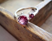 Genuine Rhodolite Pink/Violet Garnet Ring- Alternative Engagement Ring - Sterling Silver Ring - Unique Wedding Ring - Round Cut 2 Stone Ring