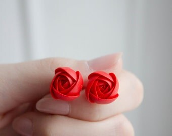 Red Rannuculus Stud Earrings Wholesale Womens Accessory Flower Small Hypoallergenic Studs Birthday Wedding Bridal Mother Mom Mum Gifts