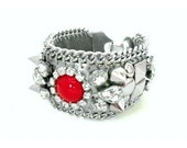 NEW - Bracelet cuff - Bead embroidery geometric red cabochon, pyramid studs, spikes and rhinestones - Statement jewelry - FW 2014 - Aries