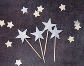 15 Silver Shimmer Star Cupcake Toppers, Party Decor, 4th of July, Graduation, Weddings, Showers, Birthdays