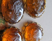 Antique Carnival Glass Cameo Cabochons  In Setting