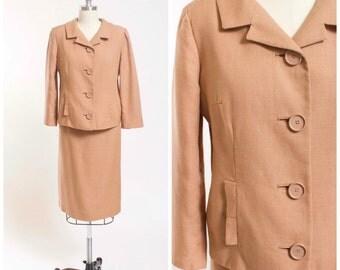 50s Vintage Skirt Suit Neutral Tan Linen 1950s Vintage Suit Size Medium