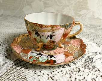 Vintage Handpainted Satsuma Cup and Saucer