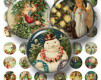 4 Vintage Christmas Bottle Cap Images Digital Collage Sheets Christmas 1 inch Circles (No.1) Christmas Images, Cabochons, Pendants, Crafts