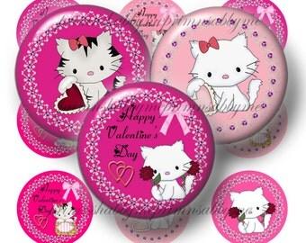 Valentine, Bottle Cap Images, Digital Collage Sheet, 1 Inch Circle, Valentine Kitty, Hearts, Instant Download, St. Valentine's Day