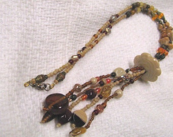 Bohemian Czech Glass Beaded Tassel Necklace Shades of Brown & Cream Tassel Necklace