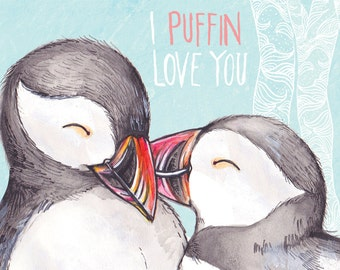 I PUFFIN love you POSTCARD.