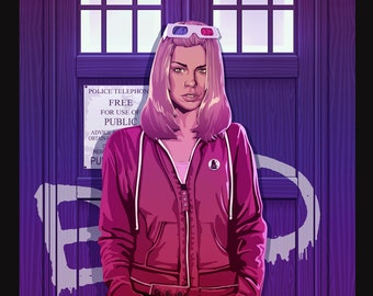 Rose Tyler Doctor Who Companion Bad Wolf Tardis Original Illustration by Jacob Sparks Painted Poster Print- Three Sizes Available