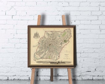 Moscow map  - Old map of Moscow print  - Vintage maps reproductions