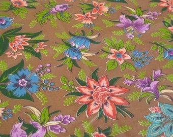 "Vintage Fabric - Everglaze - Chintz - Gorgeous Flowers on Light Brown - By the Yard x 34""W - 1950's - Craft Supply - Yardage"