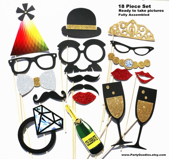Photobooth Props - Photo Booth Props 18 Piece GLITTER Set - Wedding Party Photo Props