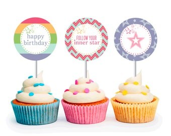 INSTANT DOWNLOAD American Girl Inspired Cupcake Toppers (Sleepover Party, American Girl Party Circles, Printable Cupcake Toppers)
