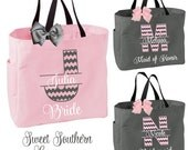 1 Chevron Monogram Tote Bags - Personalized Bride and Bridesmaids Gifts