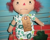 SALE Primitive Raggedy Irish Rag Prim Doll with Shamrock Ornament SET