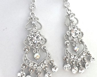 Chandelier earrings - Sliver - Victorian - Vintage inspired - Bridal jewelry - Rhinestone earrings - Wedding jewelry - Brides earrings -Gift