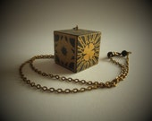 Hellraiser Inspired Lament Confirguration Wooden Puzzlebox Necklace - Bronze and Crystal detail
