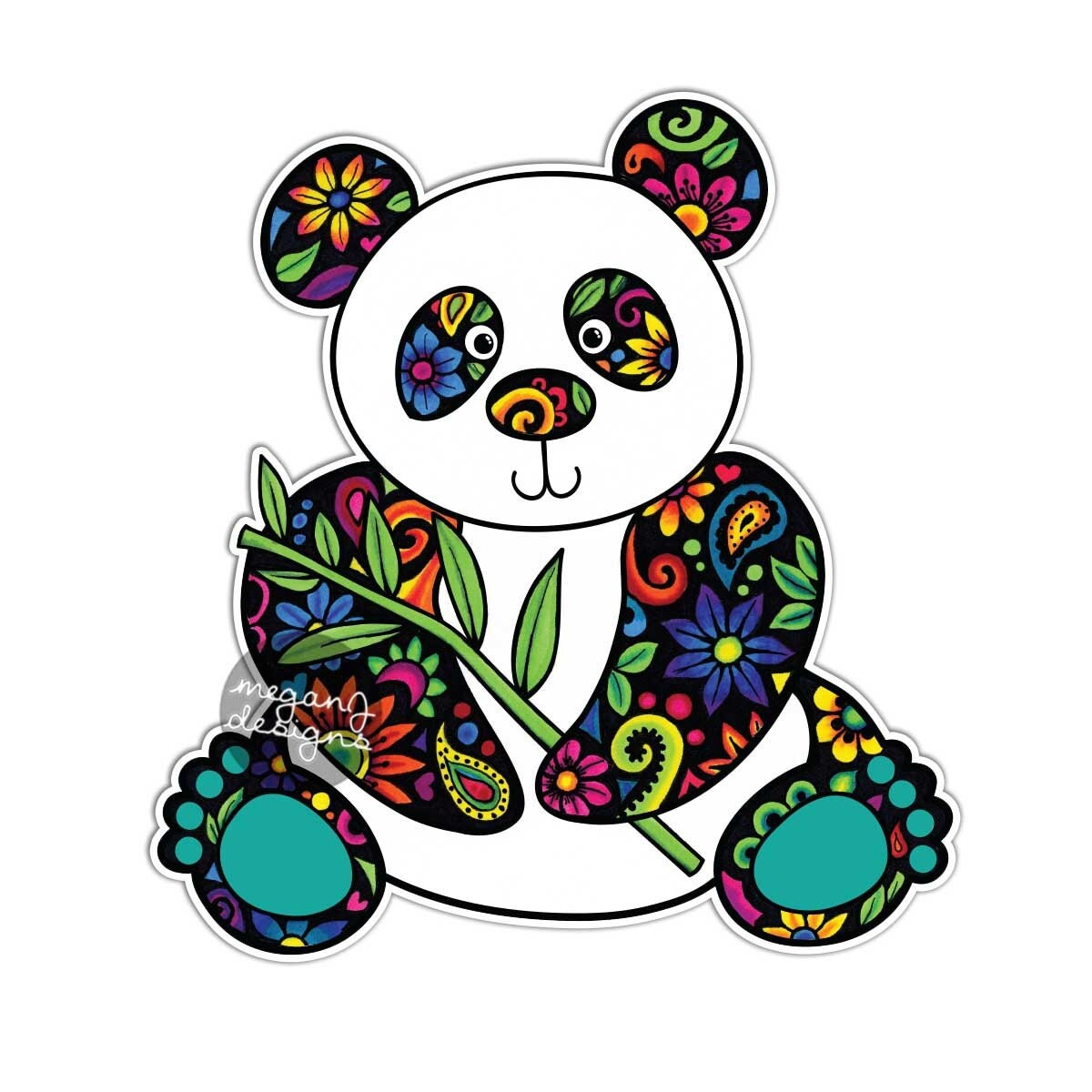 Cute car sticker designs - Panda Car Decal Colorful Flowers Design Bumper Sticker Laptop Decal Pink Green Teal Yellow Jungle Cute Car Decal Hippie Boho Panda Bear