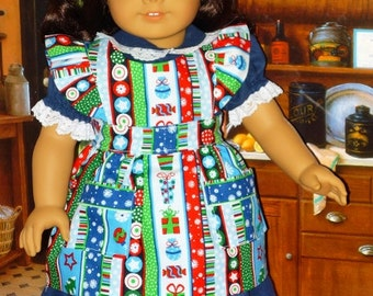 Christmas Dress and Apron for American Girl Dolls Kit, Ruthie or Molly