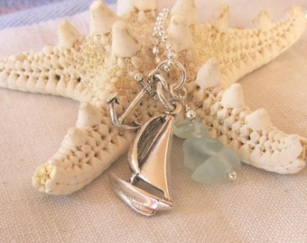Come Sail Away Necklace, Sterling Sailboat Charm, Anchor, and Bits of Light Aqua Sea Glass, Nautical, Seaside Necklace, Ocean Lovers, Gift