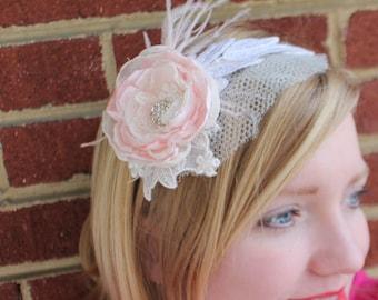 Bridal leaf applique mini veil headband. Blush flower and feather accents.