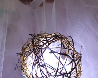 Rustic wedding, Grapevine Ball with lights, Flower Girl Basket Rustic wedding Decor, Wedding accessories, Flower Girl Accessories, Grapevine