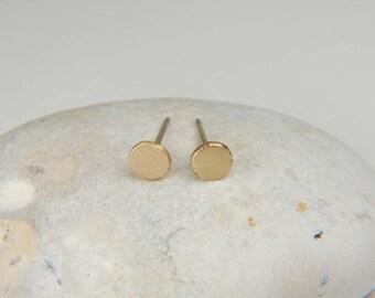 Solid Gold Earrings 4.5 mm Minimalist Earrings Modern Gold Earrings Gold Nugget Earrings Handmade Gold Studs