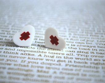 Heart Earrings -- Heart Studs, Nurse Heart Studs, White and Red Heart Earrings, Heart Jewelry