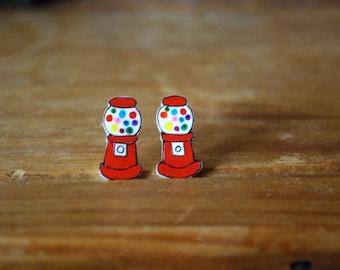Gumball Machine Earrings -- Gumball Machine Studs, Gum ball, Fun Earrings