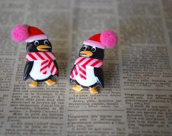 Penguin Studs -- Penguin Earrings, Red Penguin Studs