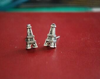 Eiffel Tower Studs -- Je T'aime Paris, Silver Eiffel Tower Earrings