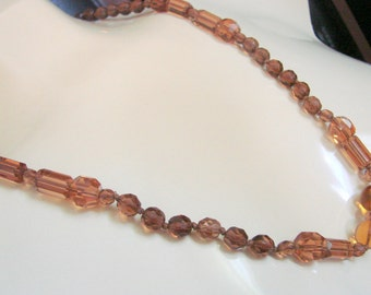 Art Deco Amber Glass Bead Necklace / Designer Signed / Faceted / 30s Vintage Jewelry