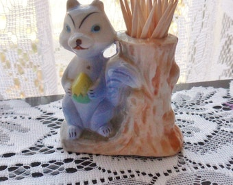 Squirrel Toothpick Holder, Squirrel by Stump, Blue Squirrel with Yellow Acorn