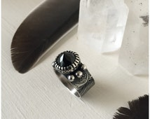 Faceted Black Spinel Ring Handmade Sterling Silver and Fine Silver Wide Band Dark Gothic Style Ring