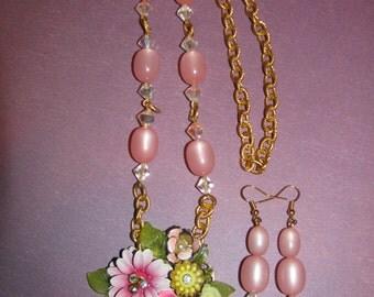 Vintage Handmade Ooak Spring Flower Garden Rhinestone Enamel Flower Necklace Earrings Set